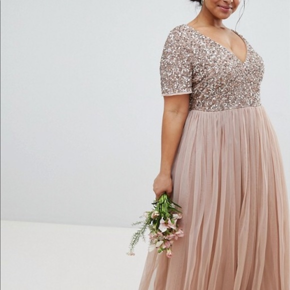 872ecc6942 ASOS Curve Dresses & Skirts - ASOS Maya Plus V-Neck Maxi Tulle Bridesmaid  Dress